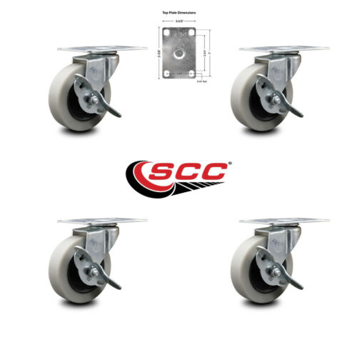"""3"""" Swivel Thermoplastic Rubber Casters /& Top Plate and Brake Set of 4 SCC"""