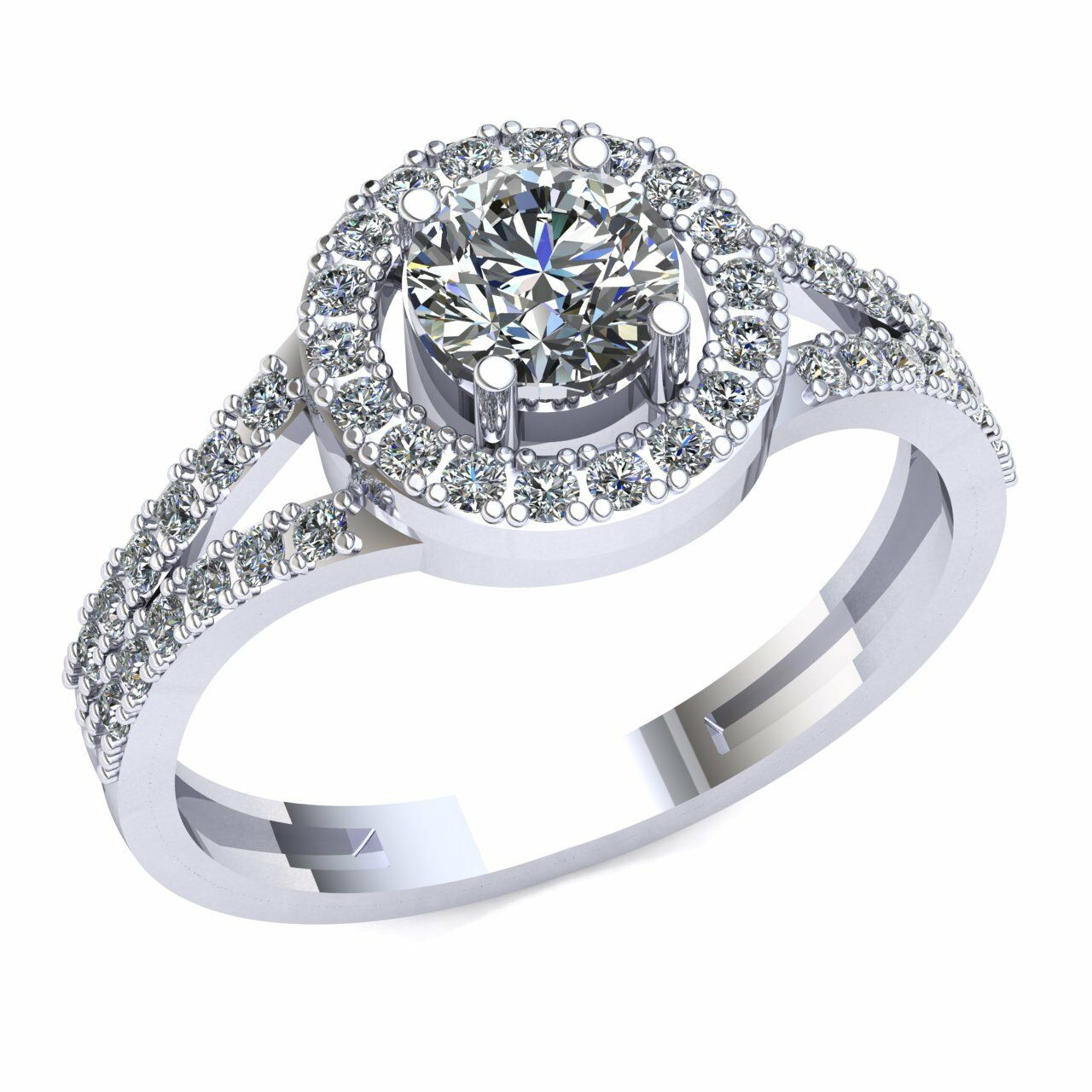 Natural 1.0ctw Round Cut Split Shank colorstone Halo Engagement Ring 10K gold