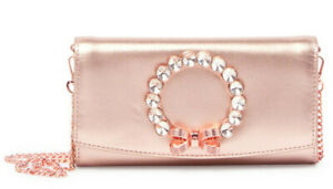 Ted-Baker-Pearl-Bow-Leather-Crossbody-Matinee-Bag-Chain-Wallet-Clutch-Rose-Gold