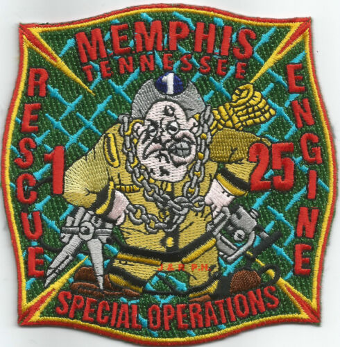 """fire patch 4/"""" x 4/"""" size TN Memphis  Engine-25 // Rescue-1 // Special Operations"""