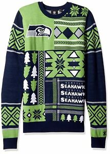 new style 2dbef d4f49 Details about NFL Seattle Seahawks Klew Patches Ugly Sweater size Small