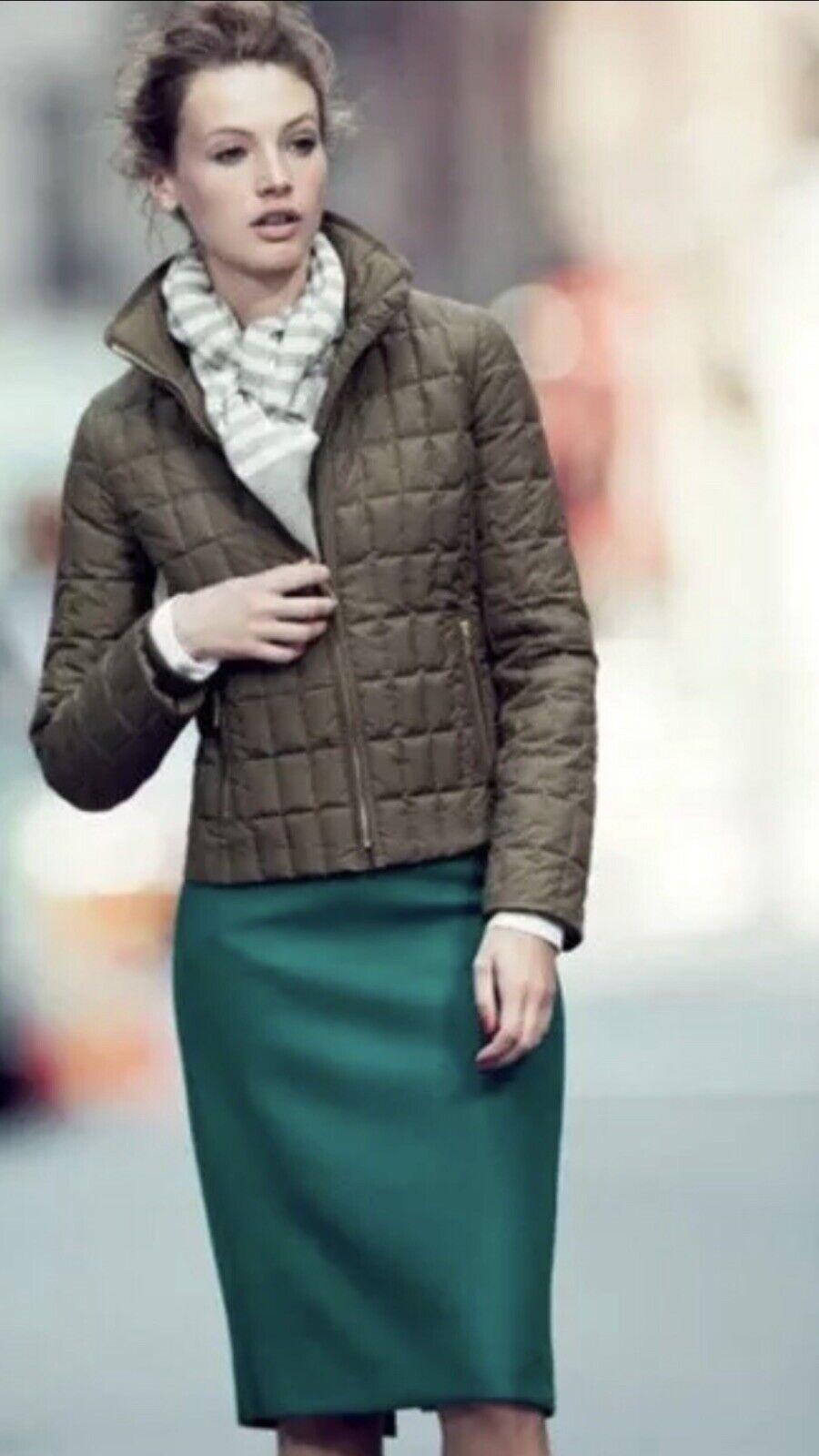 J.CREW STYLISH Green Petite No.2 Pencil Skirt In Bi-Stretch Cotton Size 6 Petite