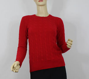 Ralph Lauren Polo Cashmere Sweater Womens Medium Fall Red Cable ...