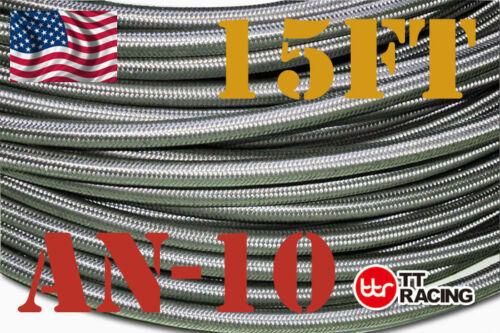 10AN 15 Feet AN10 Stainless Steel Braided Fuel Oil Gas Line Hose