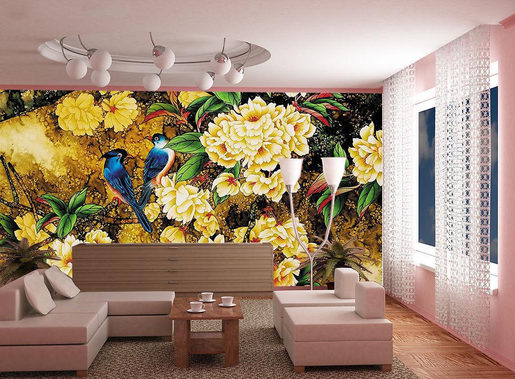 3D Vogel Blumen Baum 743 743 743 Tapete Wandgemälde Tapete Tapeten Bild Familie DE Lemon afa4d5