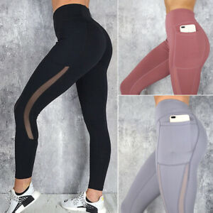 Women-039-s-High-Waist-Mesh-Leggings-Pockets-Gym-Sports-Yoga-Pants-Running-Fitness