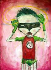 GUS FINK Art Painting Oil outsider ORIGINAL batman dc comics EROTIC BLOOD ROBIN