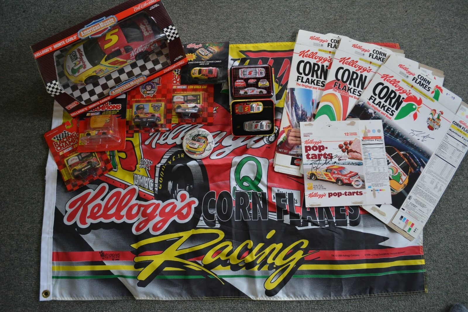 Terry Labonte  5 mini collection (Kelloggs) +4 Autographed cereal boxes