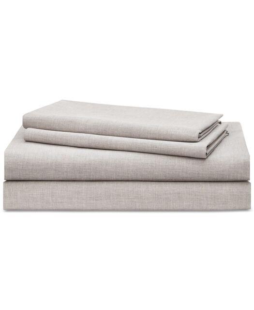 Ralph Lauren Home Graydon Melange 144TC Cotton 4Pc QUEEN Sheet Set Fog Grey $170
