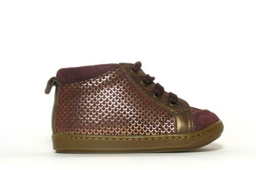 Pom Shoo Pom Bouba Bump berry//bronze leather lace up girl/'s shoe