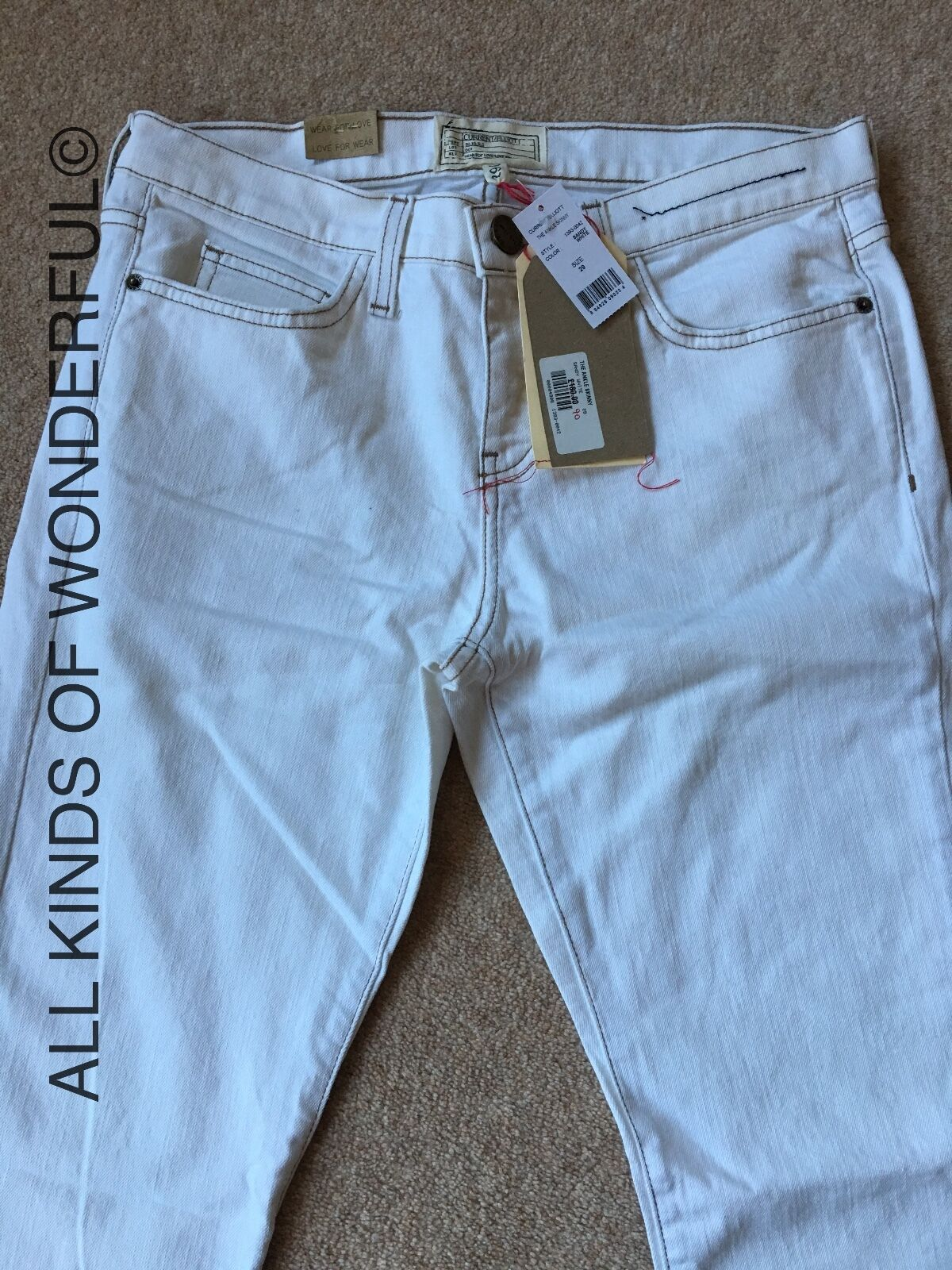 Current Elliott The Ankle Skinny in Sandy Weiß Weiß Weiß  BNWT | Vorzugspreis