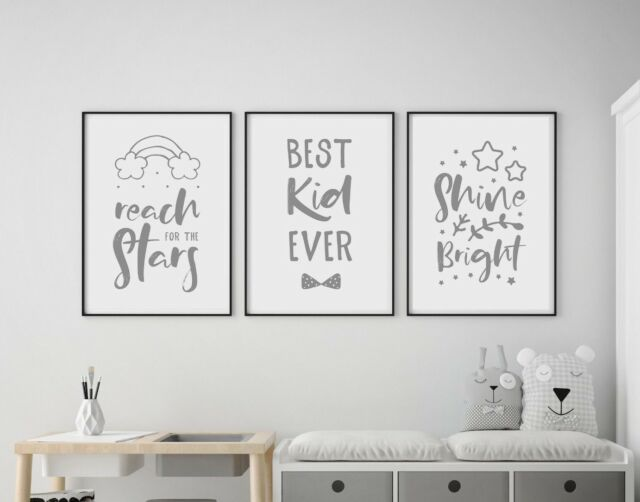 Set Of 3 Best Kid Ever Reach For Stars Baby Nursery Wall Art Prints Grey White