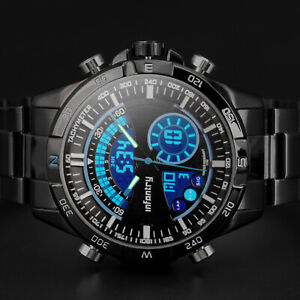 INFANTRY-Mens-Digital-Analog-Wrist-Watch-Chronograph-Sport-Army-Stainless-Steel