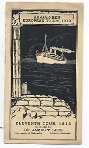 1912 Brochure from Ak Sar Ben European Steamship Tours University of Nebraska