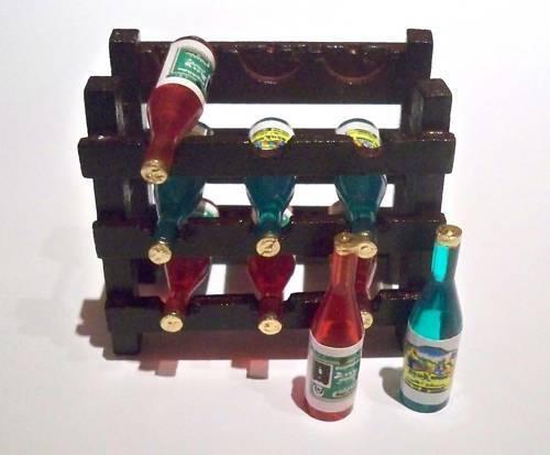 1:12 puppenstuben miniatura vino estante con 9 botellas