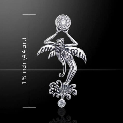 Fairy Flower Sterling Silver Pendant by Peter Stone .925 with cubic zirconia