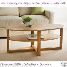 Contemporary Oval Shaped Milton Coffee Table With Undershelf.