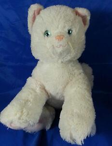Build A Bear White Kitty Cat Plush Stuffed Animal Blue Eyes Pink
