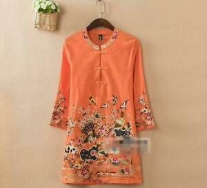 Women Chic Retro Linen Mandarin Embroidered 3/4 Sleeve Tunic Top Blouse Shirt Ne