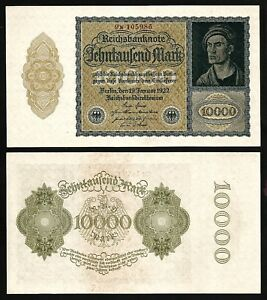 GERMANY REICHSBANKNOTE 10000 MARK 1922 UNC CONSECUTIVE NUMBERS//sold as each