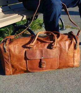 "24/""Men/'s genuine Leather large vintage duffle travel gym weekend luggage bag"