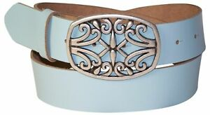 FRONHOFER-Women-039-s-genuine-leather-belt-beautiful-floral-silver-buckle-1-5-034-4cm