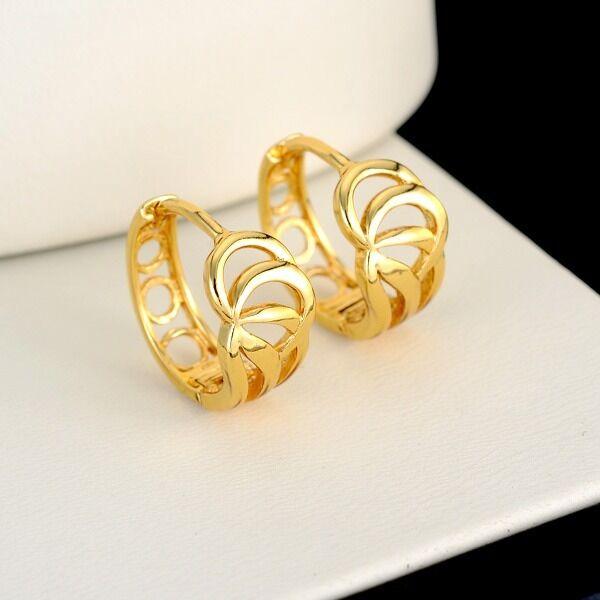 Women's Hoop Earrings 18k Yellow Gold Filled 15MM Fashion Jewelry