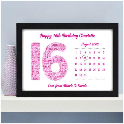 Personnalisé 13th 16th 18th 21st Anniversaire Calendrier Date Cadeaux Pour Filles ELLE