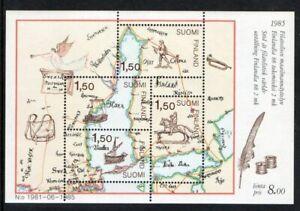 Finland Sc 728 1985 FINLANDIA 88 Ship Old Map stamp sheet mint NH