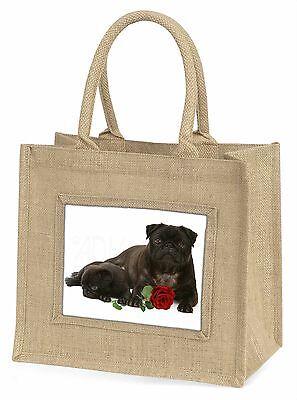 Schwarze Mops Hunde mit rotem Rose Große Natürliche Jute-einkaufstasche