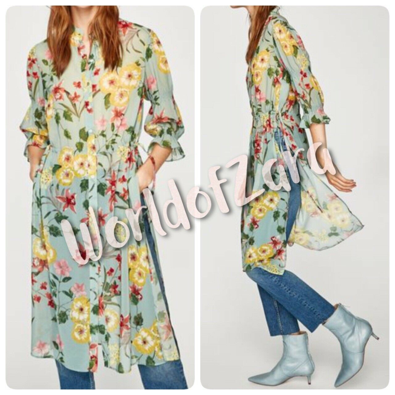 NWT ZARA LONG FLORAL PRINT SHIRT DRESS 7818 119 SEA GREEN S M