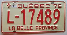 Quebec 1976 GENERAL MERCHANDISE TRANSPORT License Plate # L-17489