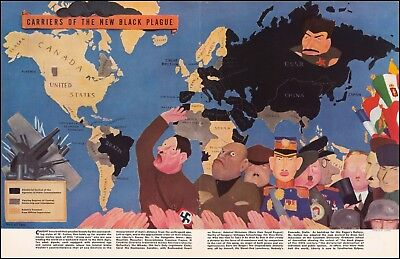 1938 pictorial map Carriers of the New Black Plague free speech POSTER 52688jc