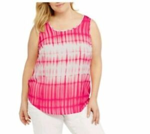 7f9536b35b597 Faded Glory Women s Woven Tank Top Sleeveless Dress Shirt Plus Size ...