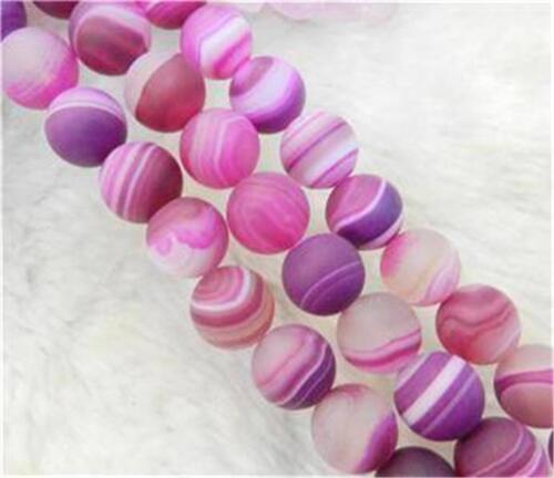 """8mm Matte Pink Dream Fire Stripe Agate Gems Round Loose Beads 15/""""##AY093"""