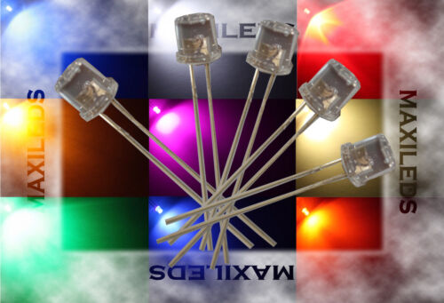 50x 3mm LED Flattop very bright LEDs Resistor 3mm