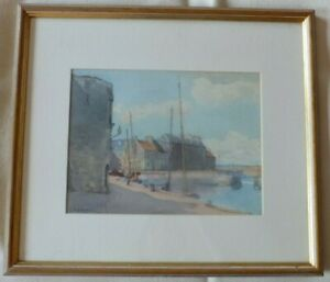 Town-on-the-River-Original-old-watercolour-painting-signed-T-M-Anderson