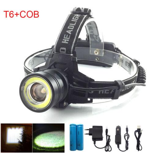 Light Camping Front Torch Flashlight Powerful Fishing lamp COB T6 LED Headlamp