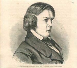 Portrait-de-Robert-Schumann-Compositeur-Musique-Allemagne-GRAVURE-OLD-PRINT-1860
