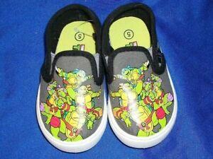 Child-039-s-Teenage-Mutant-Ninja-Turtles-Slip-On-Textile-Tennis-Shoe-Size-5