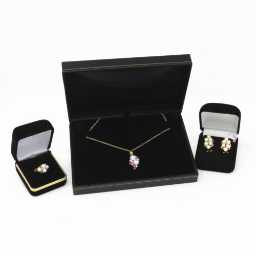 NYJEWEL Brand New 14K Gold Ruby Diamond Pearl Pendant Necklace Earrings Ring Set