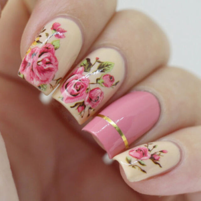 2 Sheets Nail Art Water Decal Transfer Stickers Pink Rose Flower