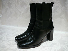100% AUTHENTHIC GUCCI WOMEN'S BLACK LEATHER ANKLE BOOTS SIZE 7 B MADE IN ITALY