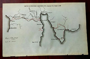 Spanish American War Philippines Map.1901 Map Sketch Of Operations In Southern Leyte Philippines Spanish