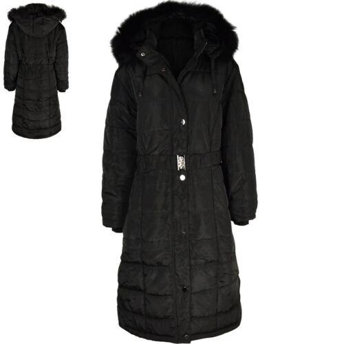 d'hiver Faux noir pour femme Hood Parka fourrure capuchon Puffa à en matelassé à et matelassé capuchon Manteau d6wZfqd