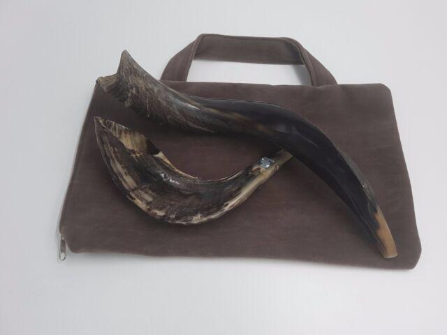 SET 2 Shofar 1 Kudu Yemenite Half Polish Natural + 1 RAM HORN Kosher + Bag