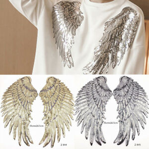 1Pair-Decor-Embroidered-Applique-Motif-Angel-Wings-Sequins-Iron-On-Patch