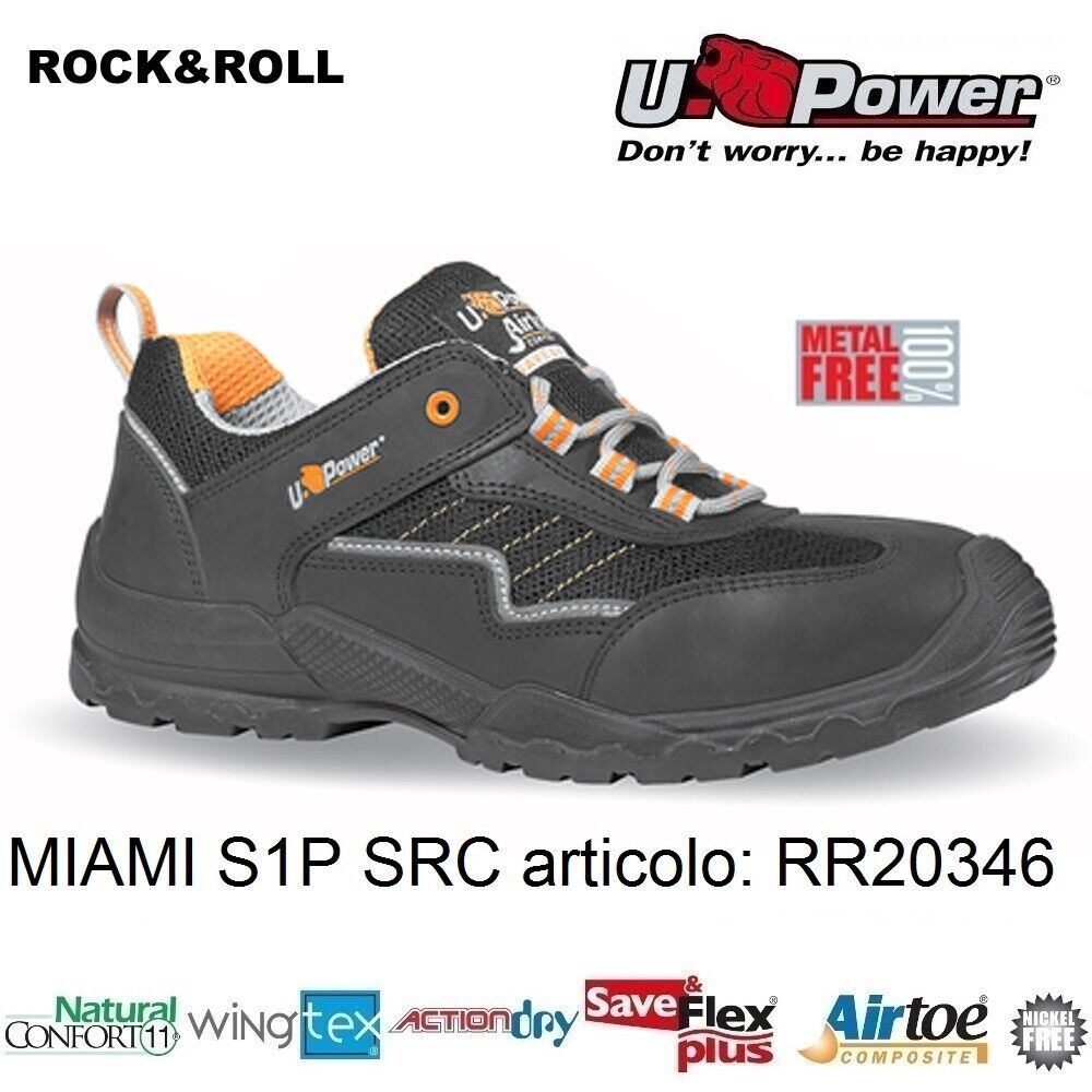 Scarpe Antinfortunistiche da Lavoro U Power MIAMI S1P SRC metal free, UPower ROCK & ROLL