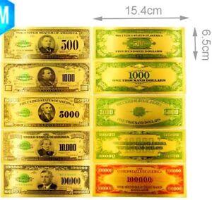 """USA : SERIE DE 5 BILLETS POLYMER """" OR """" 500 à 100000 DOLLARS 1918 - France - EBay MAGNIFIQUE 5 BILLETS POLYMER EFFET DORE DU 500,1000,5000, 10000 ET 100000 DOLLARS 1918 USA Taille: comme l'original Matire : Polymer avec effet doré Parfait, FDC Allez voir ma boutique, plein d'enchres en cours, ventes sur offre et achat im - France"""