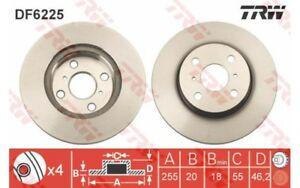 1x TRW Disco de freno delantero Ventilado 255mm DF6225